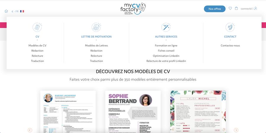 site web mycvfactory
